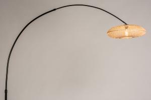 vloerlamp 31135 landelijk modern retro metaal riet zwart mat naturel rond