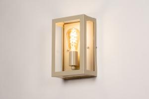 wandlamp 31148 landelijk rustiek klassiek eigentijds klassiek glas helder glas staal rvs metaal beige zand rechthoekig