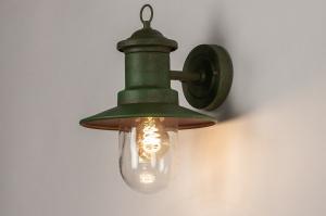 wandlamp 31151 landelijk rustiek klassiek eigentijds klassiek metaal groen lantaarn