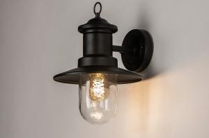wandlamp 31152 landelijk rustiek klassiek eigentijds klassiek metaal zwart mat lantaarn