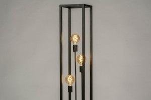 vloerlamp 47383 sale industrie look modern stoer raw metaal zwart mat rechthoekig