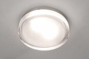 plafondlamp 53829 modern retro glas helder glas mat glas rond