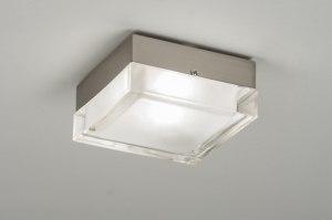 plafondlamp 53831 modern retro glas helder glas mat glas vierkant