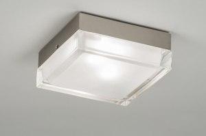 plafondlamp 53833 modern retro glas helder glas mat glas vierkant