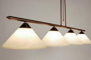 hanglamp 57235 landelijk rustiek klassiek glas zacht geel metaal brons roest bruin brons rond langwerpig