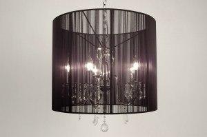 hanglamp 63515 modern landelijk rustiek chroom zwart kristal kristalglas metaal stof rond