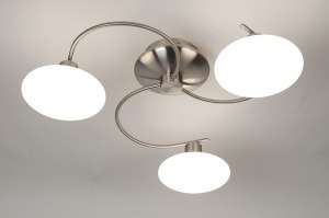 plafondlamp 64995 sale modern glas wit opaalglas staal rvs rond