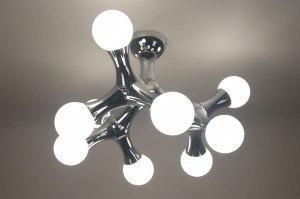 plafondlamp 67069 modern chroom glas wit opaalglas rond