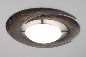 plafondlamp 67436 landelijk rustiek klassiek eigentijds klassiek glas wit opaalglas metaal brons roest bruin brons bruin rond