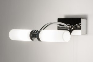 wall lamp 68732 modern glass white opal glass metal chrome oblong