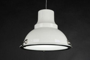 suspension 70365 soldes look industriel rural rustique moderne acier blanc rond
