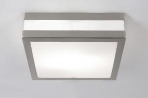 plafondlamp 70511 modern staal rvs kunststof polycarbonaat slagvast vierkant