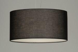 hanglamp 70592 landelijk rustiek modern stof zwart rond