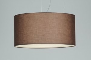 pendant light 70593 rustic modern fabric brown round