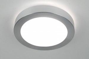 plafondlamp 70668 modern aluminium wit aluminium geschuurd aluminium kunststof rond