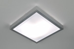 plafondlamp 70672 modern aluminium geschuurd aluminium kunststof wit aluminium vierkant