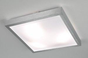 plafondlamp 70673 modern aluminium wit aluminium kunststof vierkant