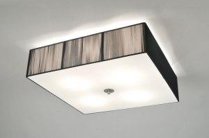 plafondlamp 70839 sale modern eigentijds klassiek retro zwart glas wit opaalglas stof vierkant