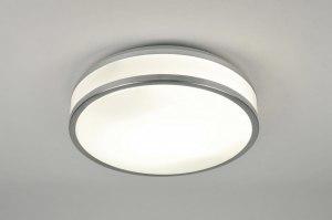 plafondlamp 71099 modern aluminium wit aluminium kunststof rond