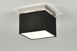ceiling lamp 71210 modern fabric black chrome square