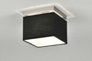 plafondlamp 71210 modern zwart stof vierkant