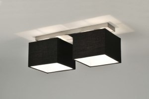 ceiling lamp 71212 modern contemporary classical fabric black oblong rectangular