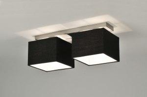 plafondlamp 71212 modern eigentijds klassiek zwart stof rechthoekig langwerpig