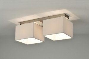 ceiling lamp 71213 modern contemporary classical fabric white rectangular