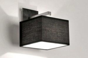 wandlamp 71218 modern eigentijds klassiek zwart stof vierkant