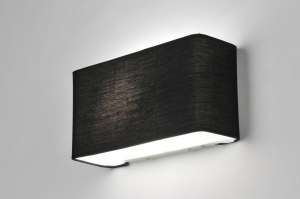 Aplique de pared 71226 Moderno Contemporaneo Clasico Tela Negro Rectangular