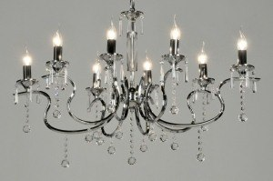 Pendant lamp 71271: classical, contemporary classical, chrome, crystal