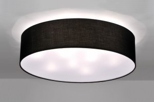 ceiling lamp 71272 modern contemporary classical fabric black round