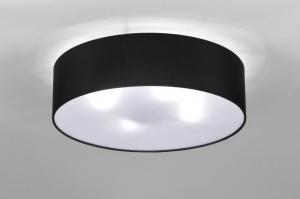 plafondlamp 71388 landelijk rustiek modern eigentijds klassiek stof zwart rond