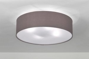 ceiling lamp 71389 rustic modern contemporary classical fabric grey dark gray round