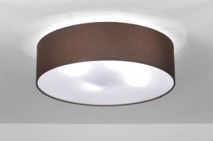 ceiling lamp 71390 rustic modern contemporary classical fabric brown round
