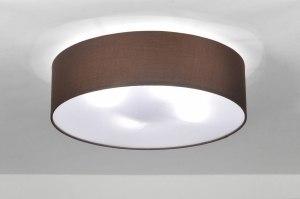 plafondlamp 71390 modern eigentijds klassiek landelijk rustiek bruin stof rond