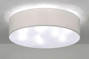 plafondlamp 71391 landelijk rustiek modern eigentijds klassiek stof wit rond