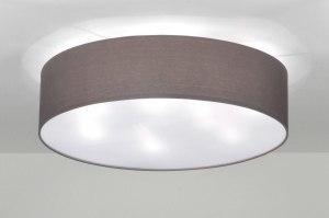 plafondlamp 71392 modern eigentijds klassiek landelijk rustiek grijs taupe stof rond