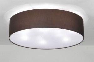 plafondlamp 71393 landelijk rustiek modern eigentijds klassiek stof bruin rond