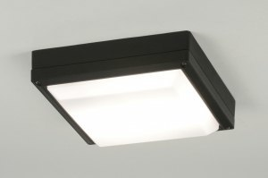 plafondlamp 71493 modern zwart aluminium kunststof polycarbonaat slagvast metaal vierkant