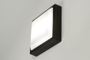 plafonnier 71493 moderne aluminium plastique polycarbonate acier noir carre