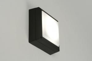 plafondlamp 71494 modern zwart aluminium kunststof polycarbonaat metaal vierkant