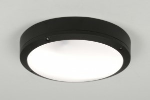 plafondlamp 71495 modern aluminium kunststof polycarbonaat slagvast metaal zwart rond