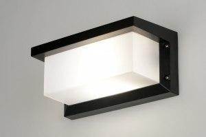 wandlamp 71515 modern zwart mat aluminium kunststof polycarbonaat slagvast rechthoekig