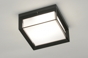 ceiling lamp 71517 aluminium plastic polycarbonate black matt square