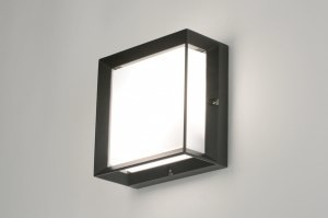 wall lamp 71518 aluminium plastic polycarbonate black matt square