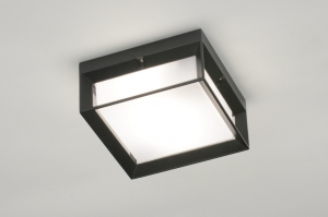 ceiling lamp 71518 aluminium plastic polycarbonate black matt square