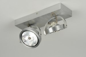 plafonnier 71551 moderne design look industriel aluminium aluminium rectangulaire