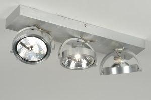 plafonnier 71552 look industriel design moderne aluminium acier aluminium oblongue rectangulaire