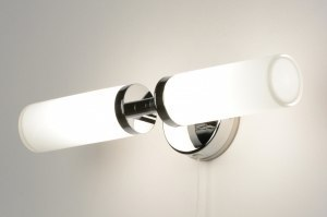 wandlamp 71557 modern eigentijds klassiek chroom glas wit opaalglas langwerpig